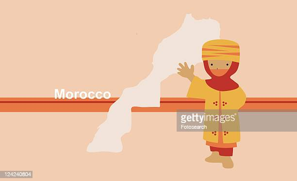 boy in traditional clothing in front of the map of morocco - morocco stock illustrations, clip art, cartoons, & icons