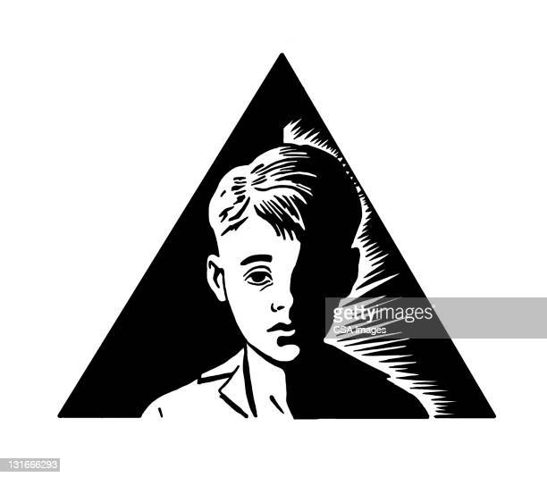 boy in triangle - regret stock illustrations