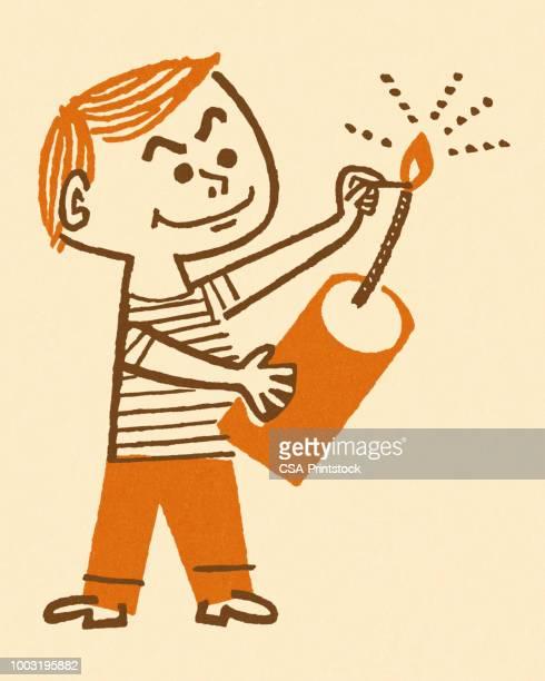 boy lighting a firecracker - firework explosive material stock illustrations