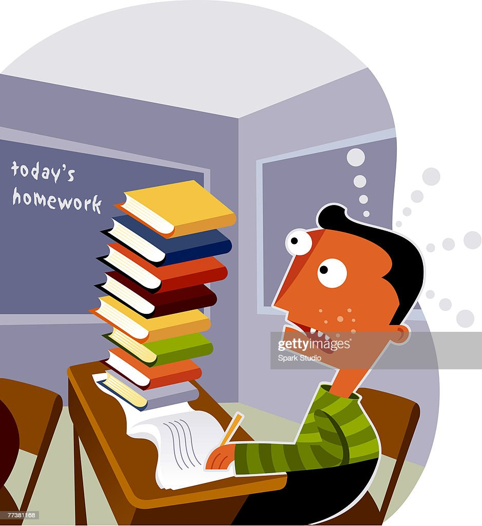 A boy looking at a big stack of homework on his desk : Illustration