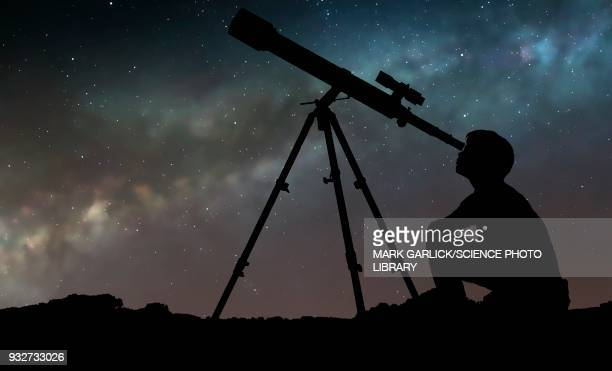 boy looking through telescope, illustration - staring stock illustrations