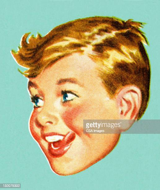 ilustraciones, imágenes clip art, dibujos animados e iconos de stock de niño mirando hacia el lado - inocentada