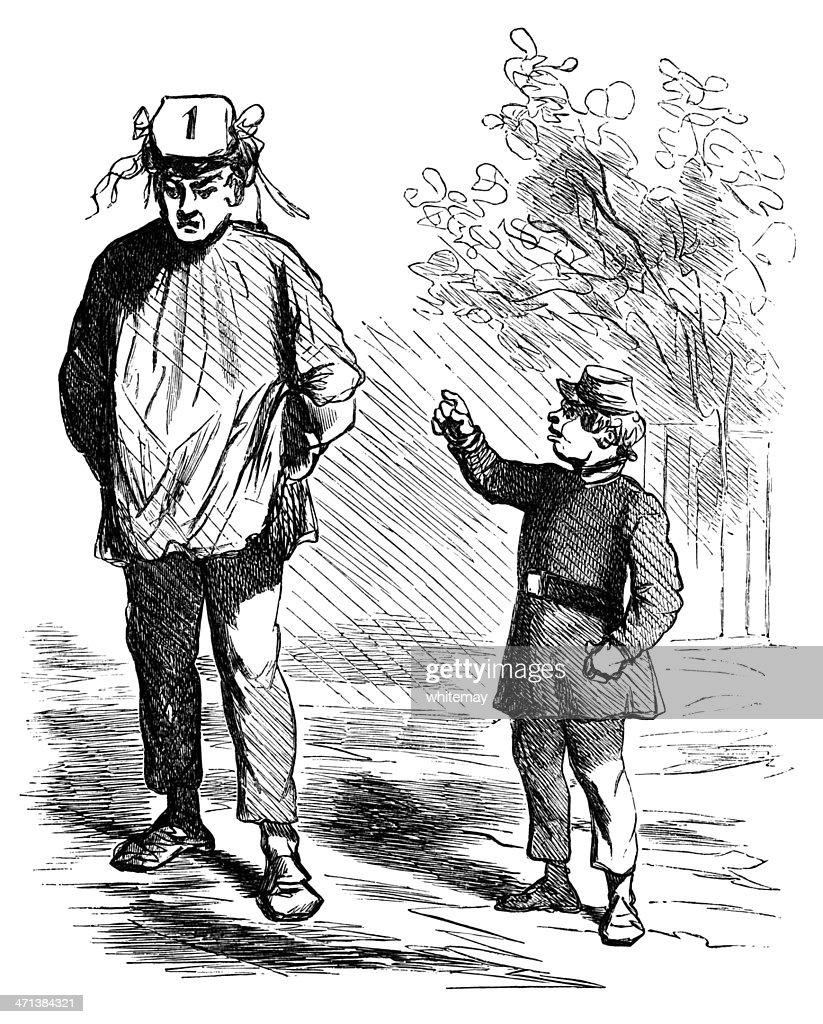 Boy mocking a man's hat : stock illustration