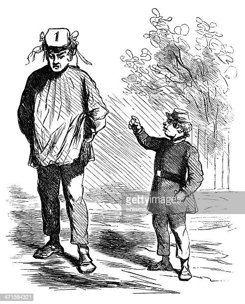 boy mocking a man's hat - sneering stock illustrations, clip art, cartoons, & icons