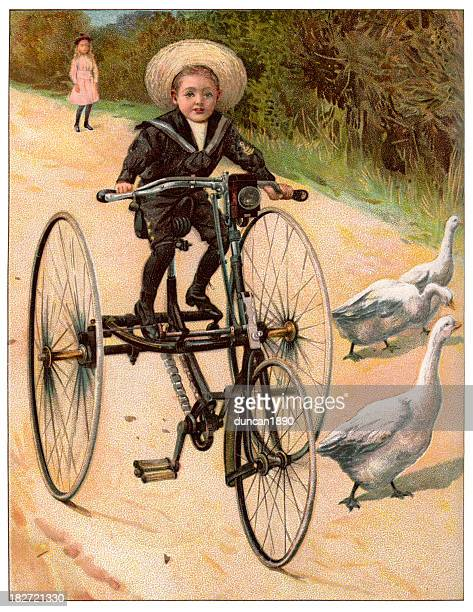 Boy on his tricycle - Victorian Engraving