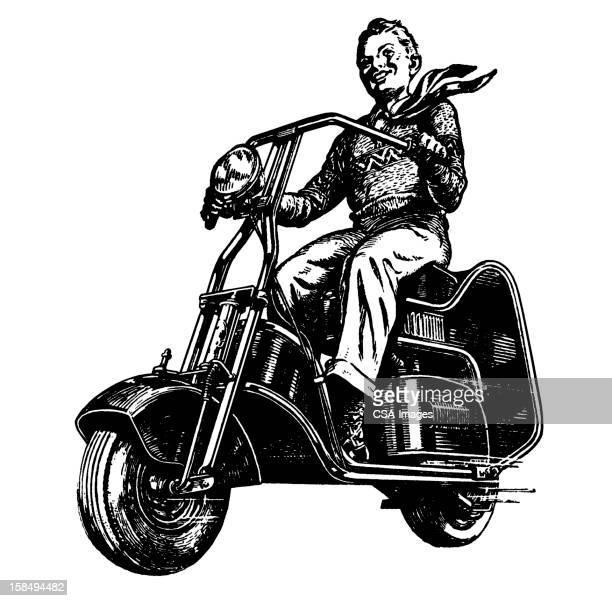 boy on motorbike - moped stock illustrations, clip art, cartoons, & icons