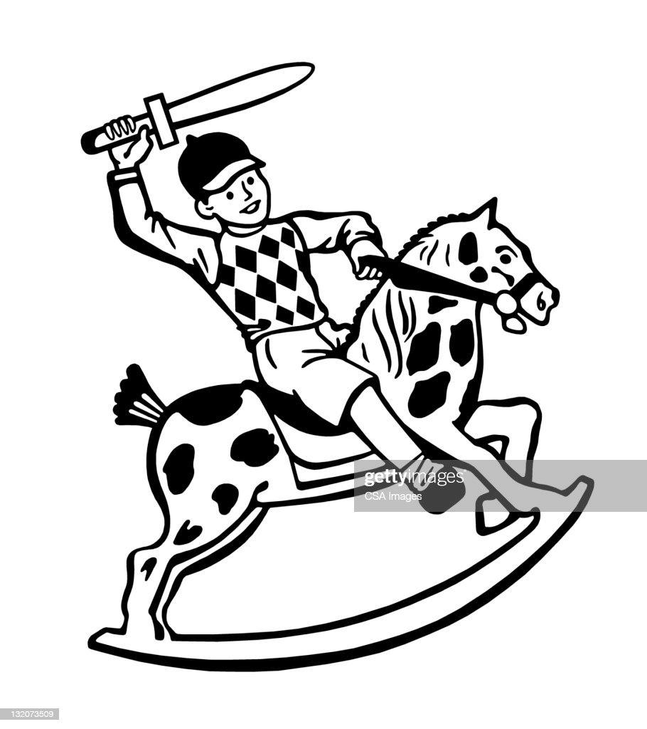 Boy on Rocking Horse With Sword : Stock Illustration