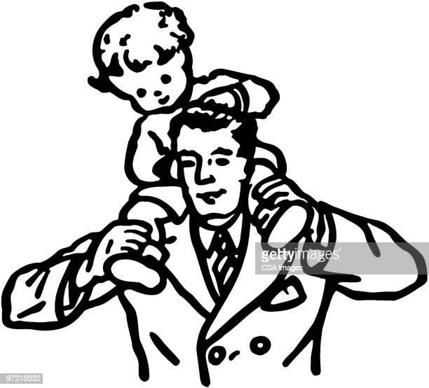 boy on shoulders - toddler stock illustrations