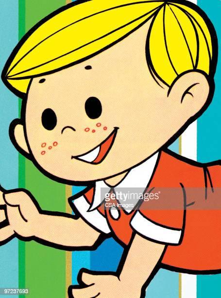 boy on striped background - toddler stock illustrations