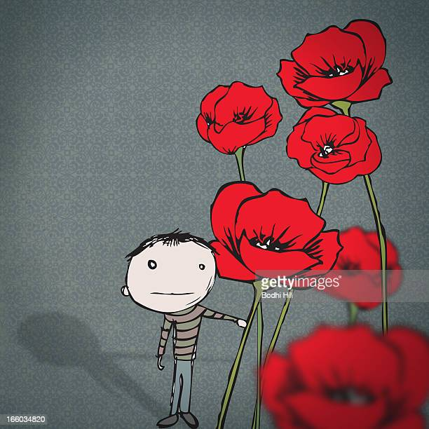 boy picking poppies - oriental poppy stock illustrations, clip art, cartoons, & icons