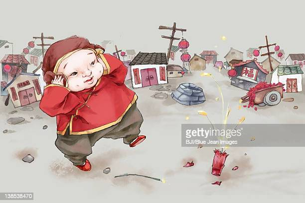 ilustraciones, imágenes clip art, dibujos animados e iconos de stock de boy playing firecrackers - obesidad infantil