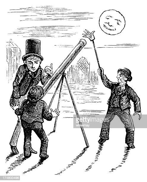 boy playing trick on friend with astronomical telescope - man in the moon stock illustrations, clip art, cartoons, & icons
