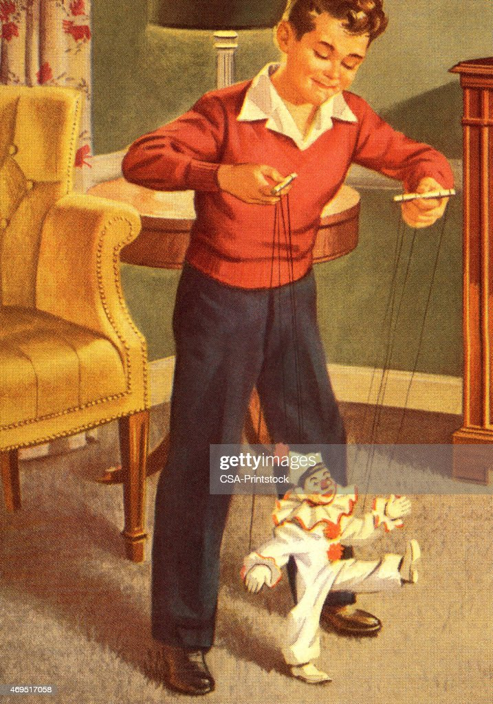 Boy Playing with a Marionette : stock illustration