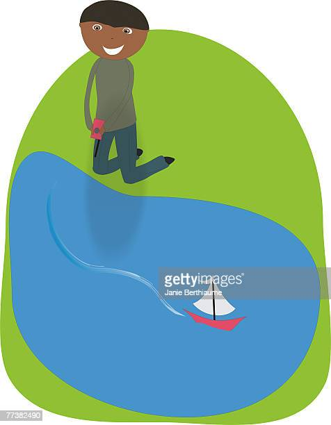 A boy playing with a remote controlled boat