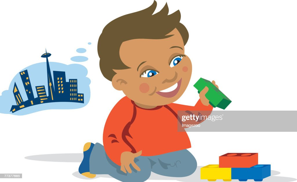 boy playing with blocks : stock illustration