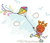 boy playing with kite cartoon illustration