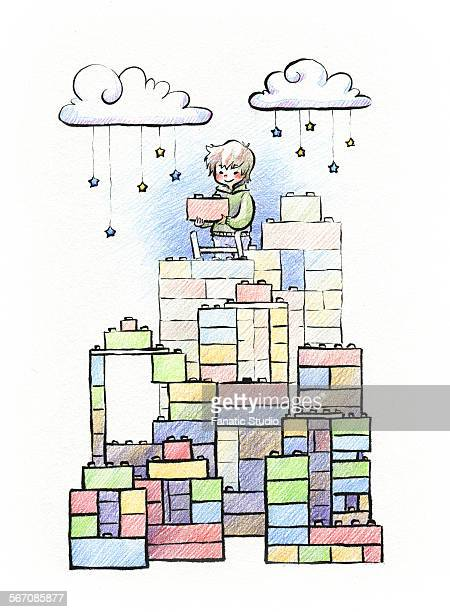 boy playing with lego game fixing blocks - lego stock illustrations, clip art, cartoons, & icons