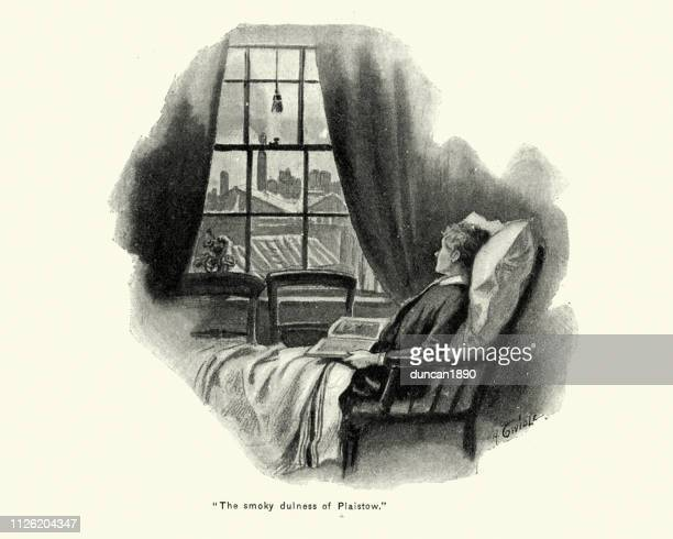 boy reading a book by a window, victorian, 19th century - looking at view stock illustrations, clip art, cartoons, & icons