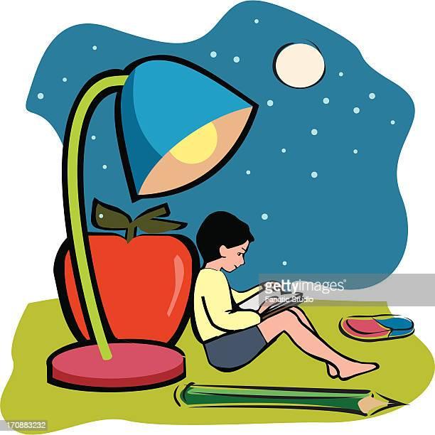 ilustraciones, imágenes clip art, dibujos animados e iconos de stock de boy reading a book - obesidad infantil