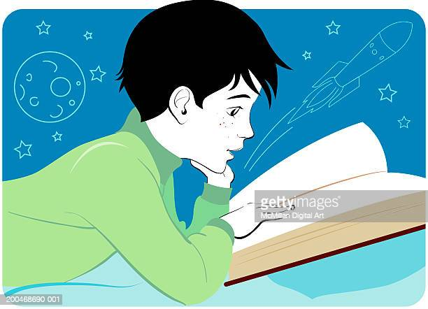 boy reading book, resting chin on hand, side view - 8 9 years stock illustrations, clip art, cartoons, & icons