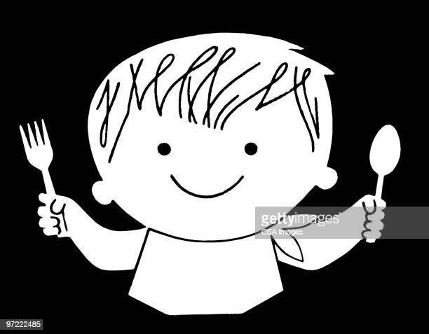 boy ready to eat - toddler stock illustrations