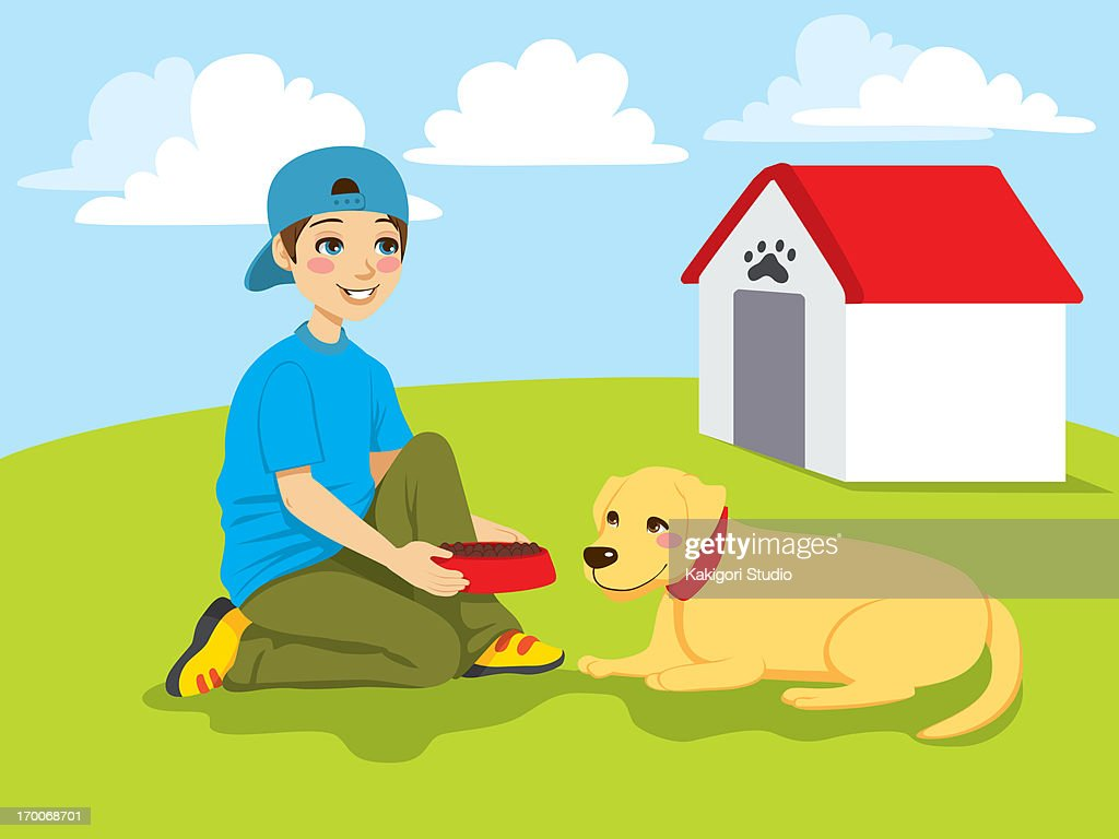 A boy setting down a dog bowl for his dog : stock illustration