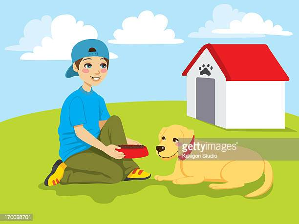 a boy setting down a dog bowl for his dog - dog bowl stock illustrations, clip art, cartoons, & icons