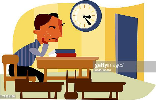 a boy sits for detention - school detention stock illustrations