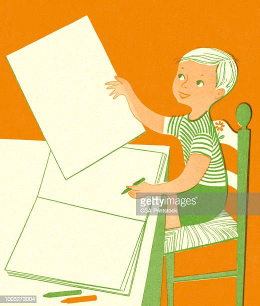 boy sitting at a table with notepad - design occupation stock illustrations