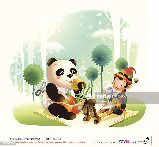 boy sitting with a panda on a picnic blanket - picnic blanket stock illustrations, clip art, cartoons, & icons