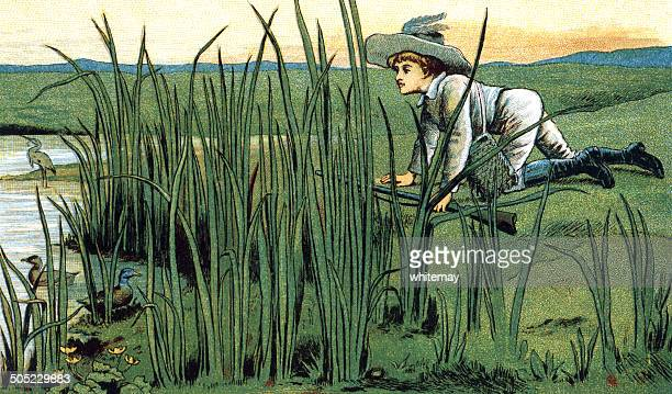 boy stalking ducks with a gun - sunday best stock illustrations, clip art, cartoons, & icons