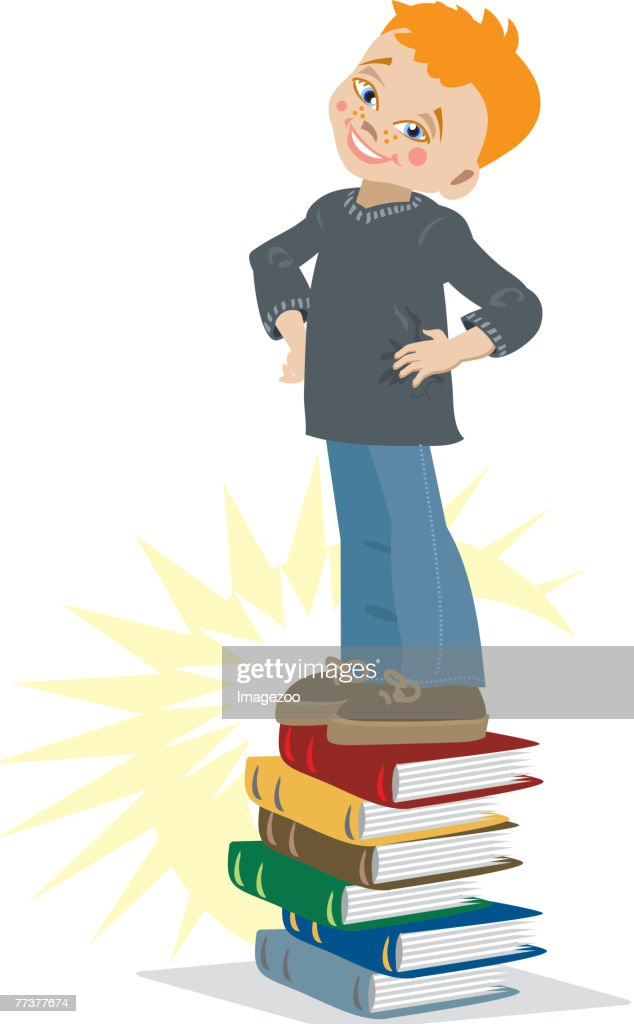 boy standing on a pile of books : Illustration