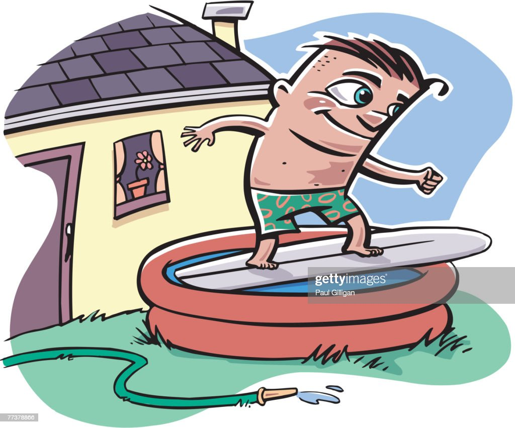 A boy surfing in an inflatable pool in his yard : Illustration