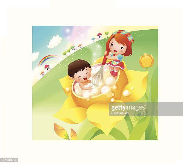 boy taking bubble bath and a girl helping him - egg beater stock illustrations, clip art, cartoons, & icons