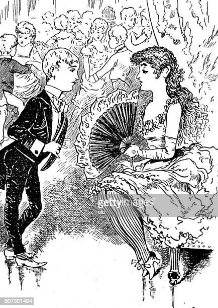 boy talking to a young lady during dance event, full length, vertical - applauding stock illustrations, clip art, cartoons, & icons