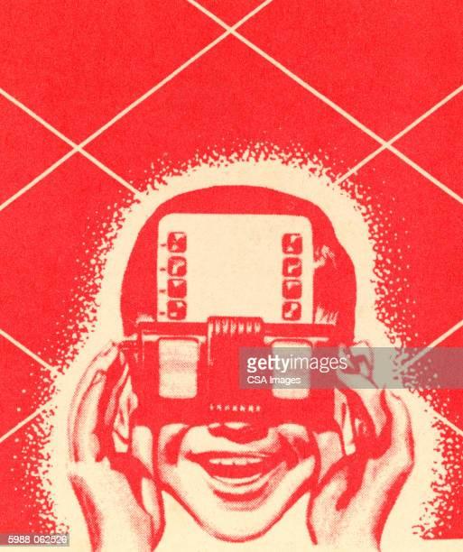boy using viewmaster - nostalgia stock illustrations