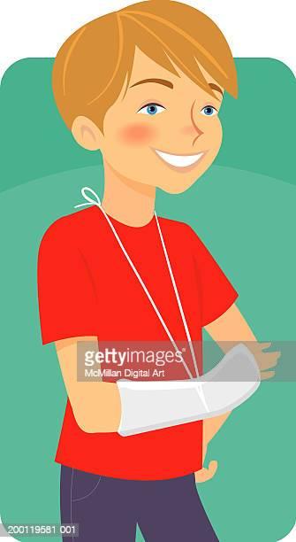 boy (9-11) wearing cast on arm - broken arm stock illustrations, clip art, cartoons, & icons