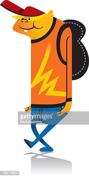 ilustrações de stock, clip art, desenhos animados e ícones de a boy with a backpack on - buchinho