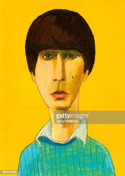 boy with a beauty spot - headshot stock illustrations