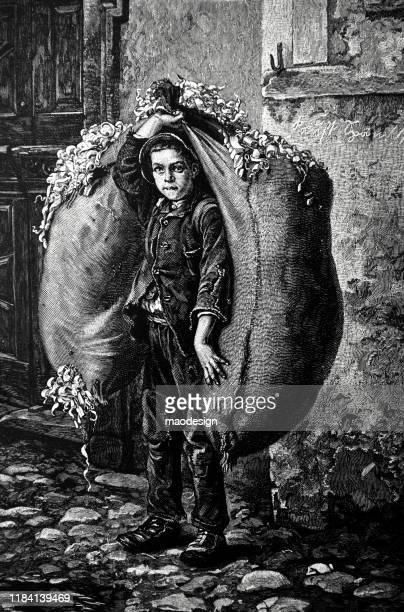 ilustrações, clipart, desenhos animados e ícones de menino com os sacos completamente de aparas de madeira - 1887
