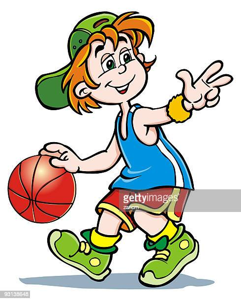 boy with ball - child netball stock illustrations