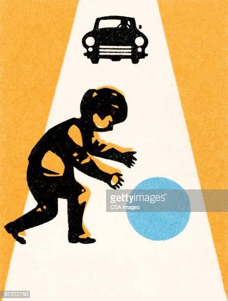 ilustraciones, imágenes clip art, dibujos animados e iconos de stock de boy with ball in street; car approaching - car crash