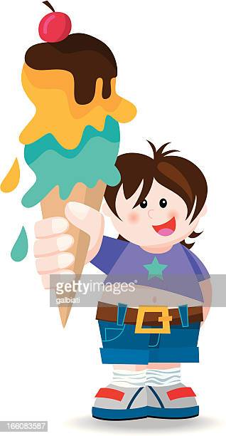 boy with big ice-cream - dessert topping stock illustrations, clip art, cartoons, & icons