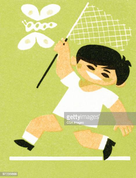boy with butterfly net - toddler stock illustrations