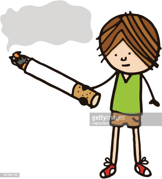 boy with cigarette and smoke speech bubble - smoking issues stock illustrations, clip art, cartoons, & icons