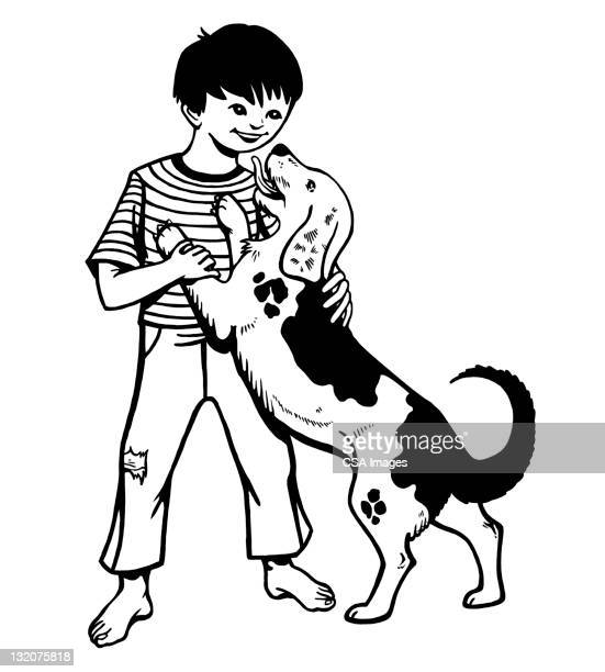 boy with dog - licking stock illustrations, clip art, cartoons, & icons