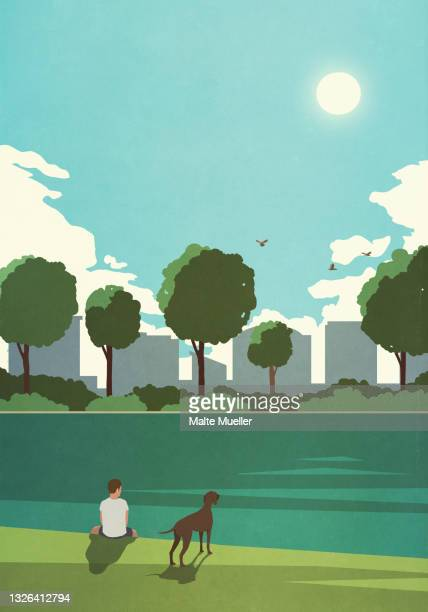 boy with dog relaxing at tranquil city park pond - leisure activity stock illustrations