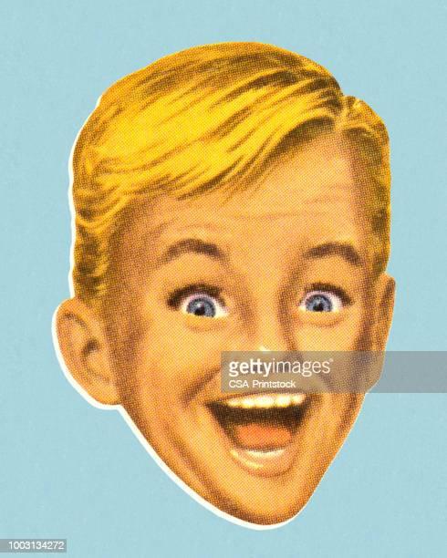 ilustrações de stock, clip art, desenhos animados e ícones de boy with excited expression - loira