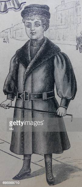 boy with fasionable clothing 19. jahrhundert - glücklichsein stock illustrations
