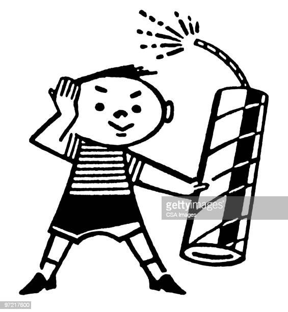 boy with fireworks - firework explosive material stock illustrations